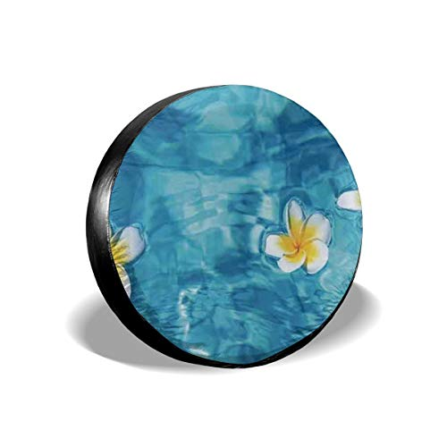 Tire Cover Tropical Frangipani Flower Floating In Water Pool Summertime Ecofriendly Polyester Universal Spare Wheel Tire Cover Wheel Covers Jeep Trailer RV SUV Truck Camper Travel Trailer Accessories -