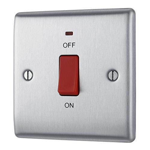 Masterplug NBS74 Schalter mit Platte aus gebürstetem Stahl, 2-polig, 45A, mit Neon-Kontrollleuchte