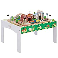 Teamson Kids - Preschool Play Lab Toys Country 85 pcs Train and Table Set