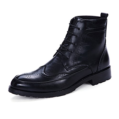 Leder Ankle Boot Spitze (L.W.S Business-Schuhe Ankle Boots der Retro Männer schnüren Sich Oben rutschfeste weiche PU-Leder hohe Spitzen-Oxford-Schuhe Schuhe (Color : Schwarz, Größe : 40 EU))