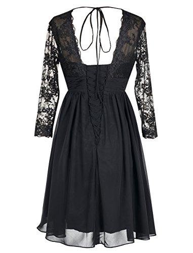 Find Dress Elégant Robe de Soirée Longue pour Femme Ronde Grande Taille Robe Cocktail Manche Longue 3/4 avec Col V Profond en Mousseline avec Dentelle Floral Lilas