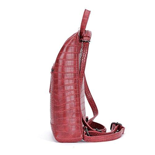 Yuncai Donna Elegante PU Pelle Casual Borsa Zainetto Vino rosso