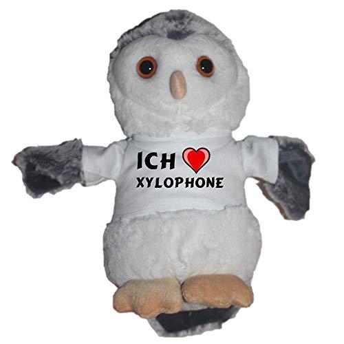 SHOPZEUS Eule Plüschtier mit T-shirt mit Aufschrift Ich liebe Xylophone (Vorname/Zuname/Spitzname)