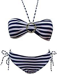 Maillot de bain femme 2 deux pièces bikini bandeau Bleu et Blanc rayé avec Paréo offert