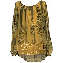 new styles d8395 8b4d3 Camicia tunica Seta - Giallo - Amazon.it