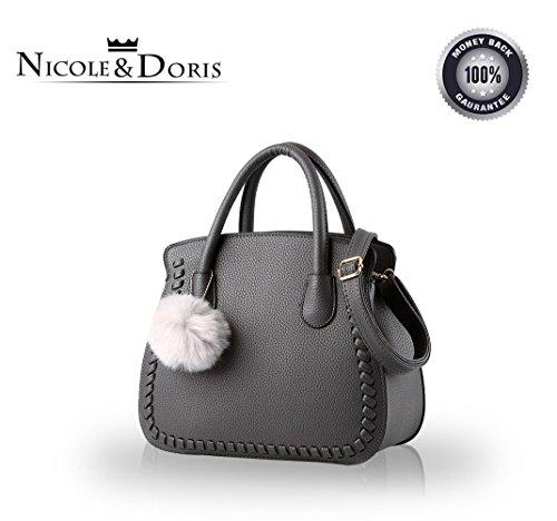 NICOLE&DORIS Damen / Frauen / weibliche Handtasche weiblichen Beutel Handtaschen Handtasche Ältere PU-Handtaschen(Gray)