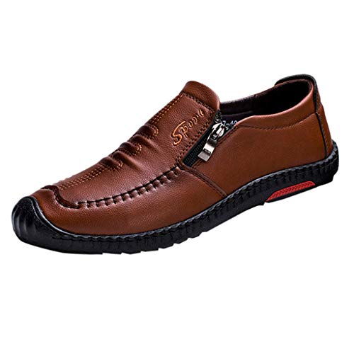 KonJin Mens Casual Loafers Moccasins Slip on Driving Leather Shoes Lightweight Round Toe Shoes Business Patent Wedding
