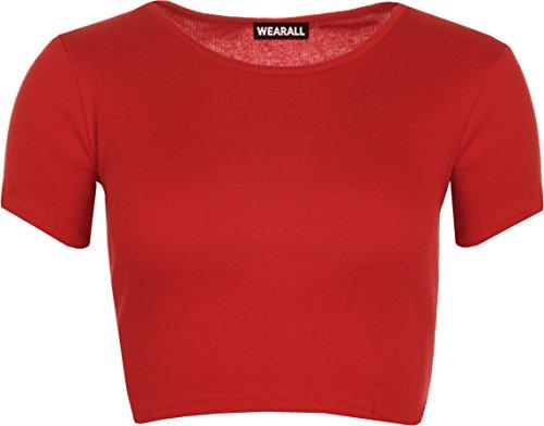 WearAll - Kurzarm Gerippte Bauchfreies Oberteil - 4 Farben - Größen 36-42 Rot