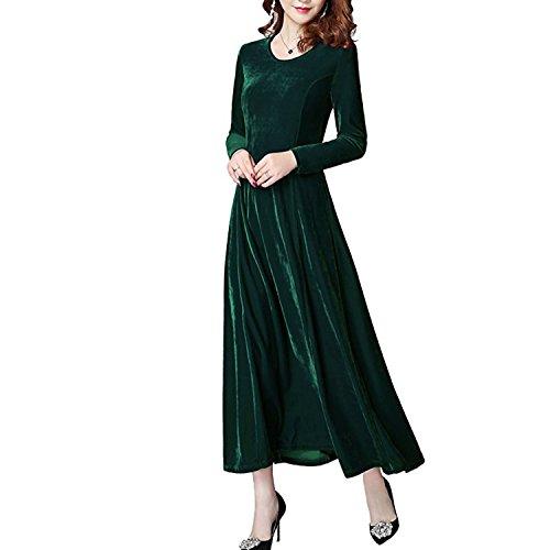 Donna Vestiti di Velluto Elegante Abito da Sera Manica Partito Lungo Slim Abiti Maxi Lunga Manica Vestito Velluto Cocktail Abito 5