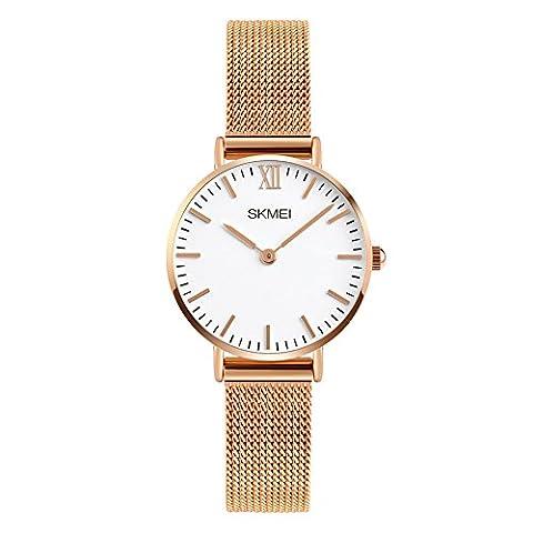 Damen Armbanduhr Analog Quarz Wasserdicht Edelstahl Silber Uhren für Frauen,Damen Rosegold Uhr
