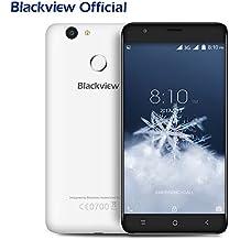 Blackview E7S - Móviles Libres Baratos Dual SIM Android 6.0 5.5 pulgadas (3G Smartphone, Quad-core, 2GB RAM, 16GB ROM, 8MP Cámara, Huellas Dactilares, 2700mAh, Bluetooth 4.1, GPS) - Blanco