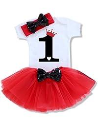 Bebé Niña Vestido Cumpleaños 3pcs Corona Patrón de Primer Segundo  Cumpleaños para ... 4c442f0abb6e
