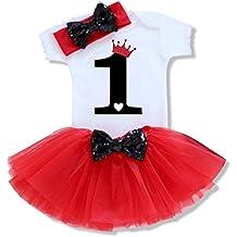 fb9e0ef48 Bebé Niña Vestido Cumpleaños 3pcs Corona Patrón de Primer Segundo  Cumpleaños ...