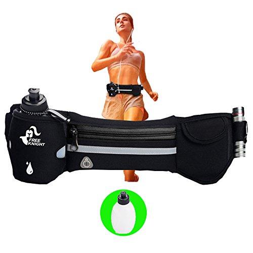 Lucear TRINKGüRTEL Laufgürtel mit Wasser Flaschen Hüfttasche für iPhone Damen Herren(Schwarz)