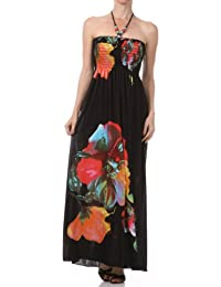 a55bfc037ea6c7 Sakkas Floral on Solid Black Graphic Print Beaded Halter Smocked Bodice Long  Maxi Dress (