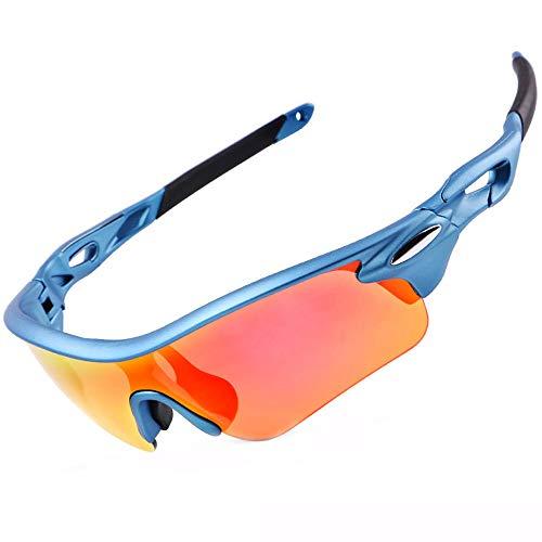 Radsportbrille Polarisierte Sport-Sonnenbrille UV 400 Schutz Sportbrille mit 3 Brillen Wechselgläsern für Damen & Herren im Freien Laufen Angeln Golf (blau)