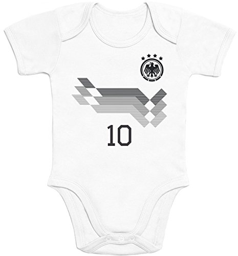 Shirtgeil Deutscher WM Fan-Body Bedruckt WUNSCHNAME & WUNSCHNUMMER Baby Body Kurzarm-Body 57/68 (3-6M) Weiß