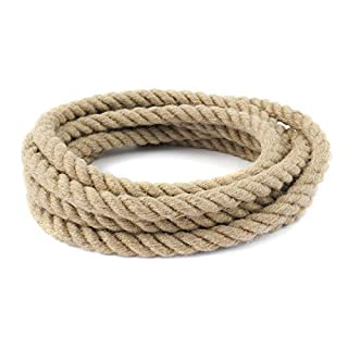 10m jute rope 20mm twisted 3-strand natural - different sizes and lengths