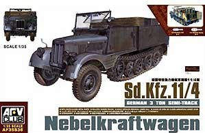 SdKfz 11 4 German 3-Ton Semi-Track Nebelkraftwagen Vehicle 1-35 AFV Club by AFV Club