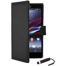 32nd® Funda Flip Carcasa de Piel Tipo Billetera para Sony Xperia Z1 Compact (D5503) con Tapa y Cierre Magnético y Tarjetero - Negro