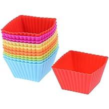 BESTONZON 12pcs Tazas de pastelería para hornear Muffin de silicona reutilizable haciendo portavasos (colores surtidos