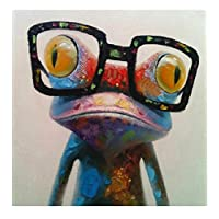 Fokenzary Hand Painted Oil Painting Cute Frog with Glasses on Canvas Stretched and Framed Ready to Hang