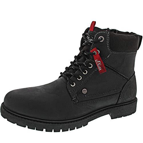 s.Oliver Herren Stiefel 15218-21,Männer Boots,Lederstiefel,Schnürstiefel,seitl. Reißverschluss,Black,EU 45