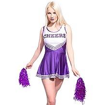 Anladia - Disfraz de animadora Cheerleader para adulta Mujer Mini Vestido sin Mangas con Letras ¨CHEERS¨ Color Morado Talla 36 38 40 42 44 (S (38))