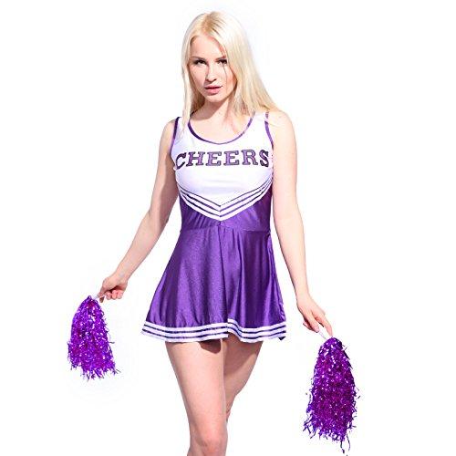 Imagen de anladia  disfraz de animadora cheerleader para adulta mujer mini vestido sin mangas con letras ¨cheers¨ color morado talla 36 38 40 42 44 s 38