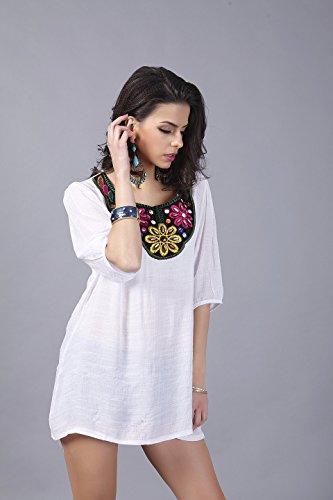 QIYUN.Z Vintage 3/4 Ärmel Blumenstickerei Hals Baumwolle Lose Beiläufige Hemdbluse Damen Blusen Tuniken T-Shirts Tops Shirt Kleider Weiße