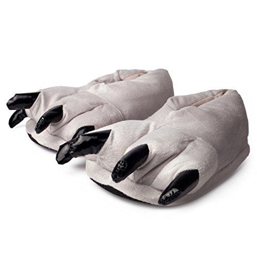 Katara 1773 Tatzen Hausschuhe-kuschelig weich-warme Pantoffeln Maus, Elefant, Baymax, Hell-Grau, OneSize Onesie Karneval Kostüm, ()