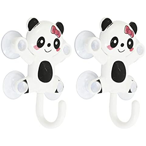 2 Piezas Diseño De Panda Mochila Toalla Cucharón Colgante Ventosas Gancho Blanco Negro 1,2 kg