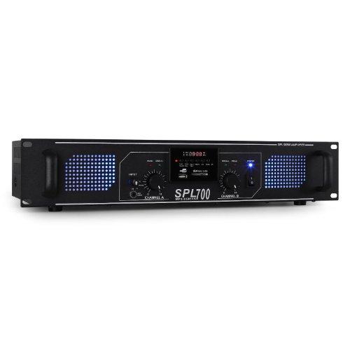 """Skytec SPL 700 PA Verstärker Endstufe (2 x 350 Watt, MP3 Player USB/SD/UKW-Radiotuner, Lautsprecherimpedanz: 4-8 Ohm, geeignet zum 19"""" Rack-Einbau - 2 Höheneinheiten) schwarz"""