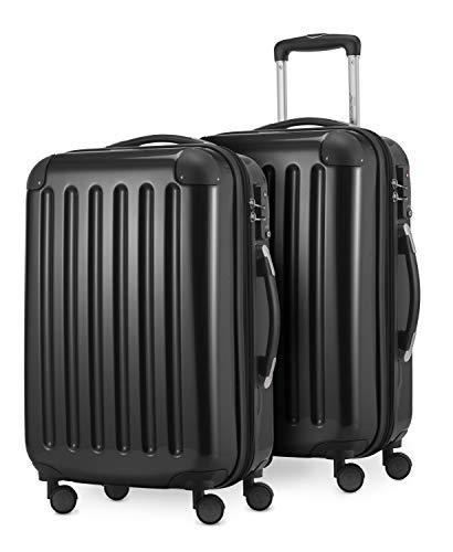 HAUPTSTADTKOFFER® · Set de 2 Valises cabine à coque dure · 45 litres · Serrure TSA (Noir)