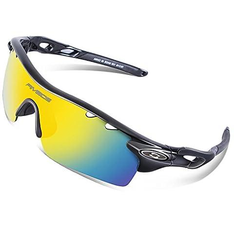 RIVBOS 801 Sports Pour Ski Randonnée Sportive en Plein Air Vélo VTT Polarisées Unisexe Sport Soleil Lunettes Protection 100 % UVA UVB Avec 5 Objectifs Interchangeables TR Noir