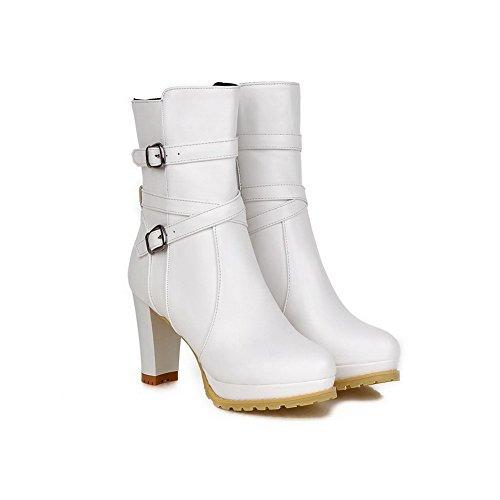 AalarDom Damen Hoch-Spitze PU Leder Niedriger Absatz Gemischte Farbe Ziehen auf Stiefel, Weiß, 36