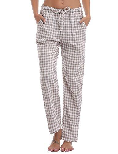 Aibrou Damen Schlafanzughose Pyjamahose Nachtwäsche Hose Baumwolle Lang Sleep Hose Pants Kariert (L, Braun)