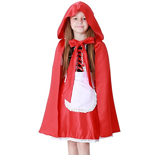 Feicuan Kinder Mädchen Dress Up Little Red Riding Hood Fancy Kleid Halloween Kostüm (Red Hood Girl Kostüm)
