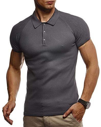 LEIF NELSON Herren Sommer T-Shirt Poloshirt Slim Fit aus Feinstrick | Cooles Basic Männer Polo-Shirt Crew Neck | Jungen Kurzarmshirt Polo Shirt Sweater Kurzarm | LN7310 Anthrazit X-Large