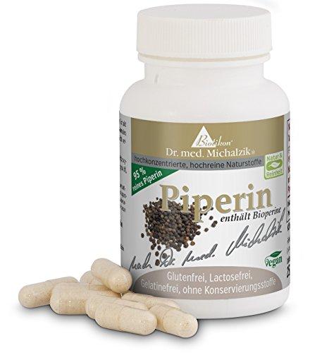 Piperin nach Dr. med. Michalzik + Piperin aus Schwarzem Pfeffer ist gut einsetzbar als Einzelprodukt sowie auch als Bioverstärker zusammen mit anderen Produkten, wie beispielsweise Curcuma oder Resveratrol. Bis zu 2000% bessere Bioverfügbarkeit durch 95 % Piperin-Gehalt. Ohne Zusatzstoffe, 60 Kapseln von 10 mg (Piper nigrum-Extrakt 95 % Alkaloide)