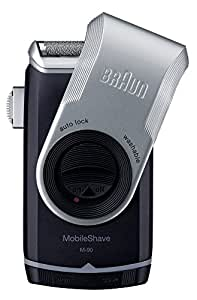 Braun MobileShave M-90 Men's Portable Electric Foil Shaver Travel Battery Razor,Black, Silver
