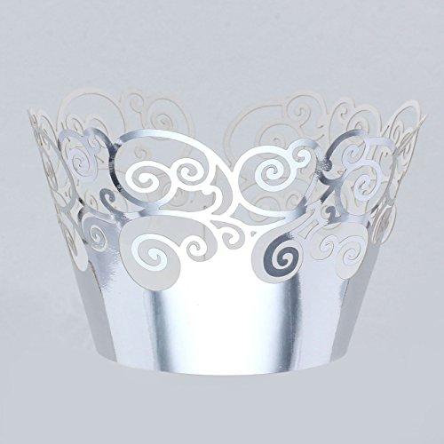 50pcs Wolke Kuchen Cupcake Törtchen Muffin Wrapper Collars Metallic Farbe - Silber Wolke (Wrapper Silber Cupcake)