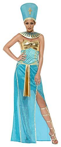 Nofretete Kostüm Königin - Smiffys, Damen Pharaonin Nofretete Kostüm, Kleid, Kopfbedeckung und Kragen, Größe: L, 43732
