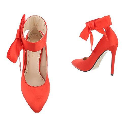 Ital-Design High Heel Pumps Damenschuhe High Heel Pumps Pfennig-/Stilettoabsatz High Heels Klettverschluss Pumps Rot XK-0054