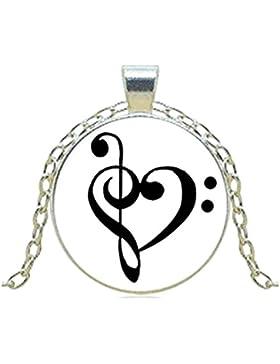 Treble und Bass Notenschlüssel Halsketten Anhänger Musik Kunst Vintage Kette Choker Statement Halskette Schmuck...