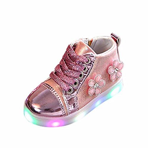 TPulling Mode Sommer Und Frühling﹛1T-3.5T﹜Kinder Mode Mädchen Jungen﹛Leuchtend LED Rutschfeste﹜Blumen Strass Mit Glänzenden Sneaker Tanzschuhe Schuhe Turnschuhe Lässige Schuhe (Rosa, 25=EU:24) (Star-mädchen-schuhe)