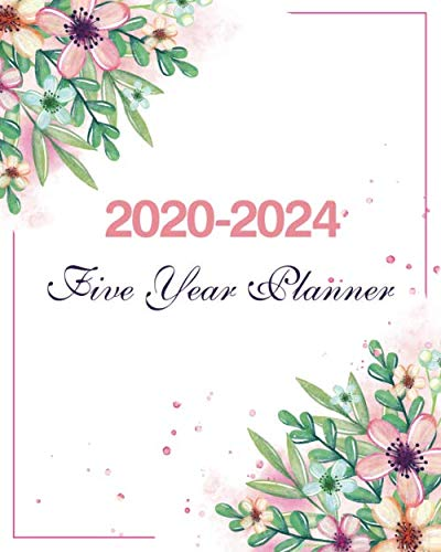 2020-2024 Five Year Planner: Watercolor Cute Floral,Weekly Monthly Schedule Organizer Agenda, 60 Month For The Next Five Year with Holidays and Inspirational Quotes -
