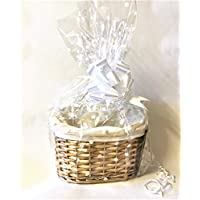 Chattels Make Your Own Hamper Kit, Oval High back Willow Basket which includes Bow & Cellophane Small Medium Or Large Gift Xmas (small)