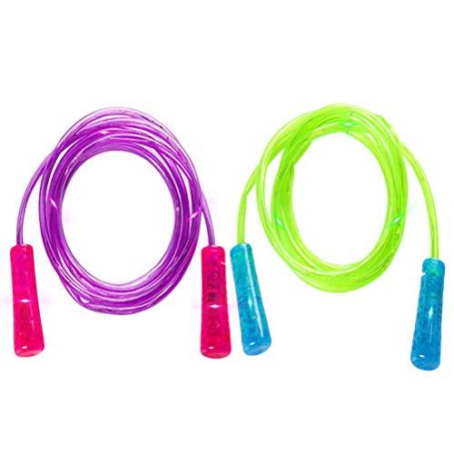 Phayee LED leuchtendes Springseil, 2 Pcs Glowing Springseil Kinder,Home Workouts Abnehmen Fitness-Spiele für Kinder Jungen und Mädchen Erwachsene