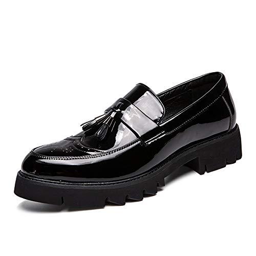 Jingkeke Herren Quaste Vamp Brogue Oxfords for Herren Slip-on Formelle Business Loafer Schuhe Synthese Lackleder Rubber Lug Außensohle Ins Auge fallend Mode (Farbe : Schwarz, Größe : 40 EU) - Herren Schwarz Kleid Schuhe